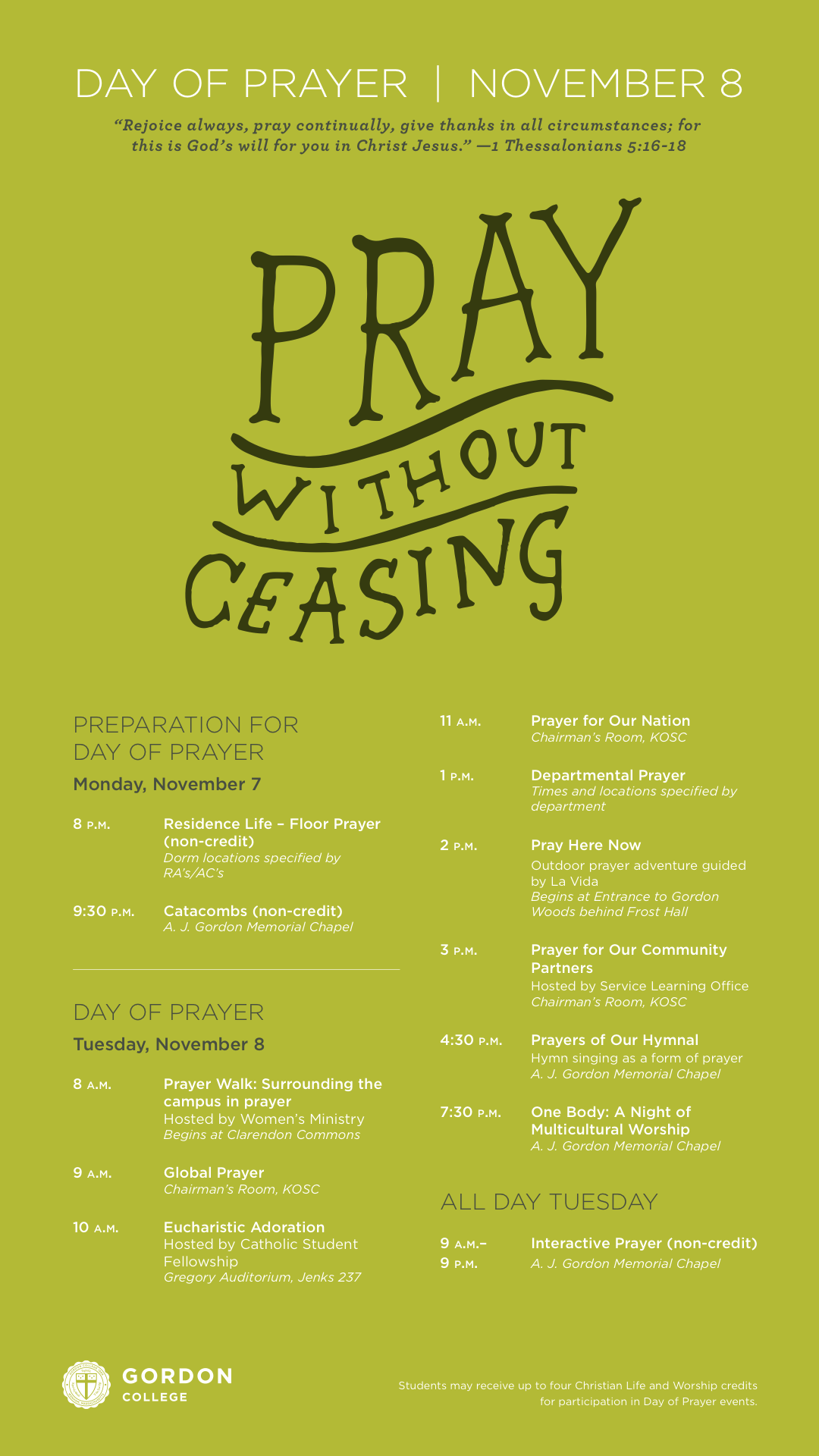 Day of Prayer Schedule